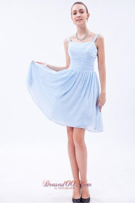 2013 Baby Blue Empire Straps Knee-length Chiffon Ruch Bridesmaid Dress