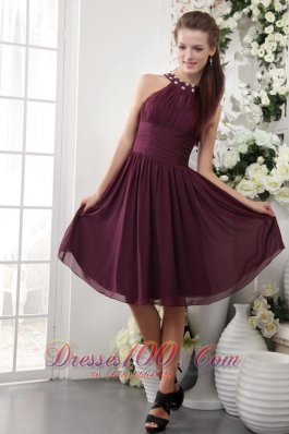 2013 Burgundy Empire High-neck Knee-length Chiffon Beading Bridesmaid Dress