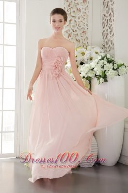 2013 Pink Empire Sweetheart Floor-length Chiffon 3D Flower Prom / Evening Dress