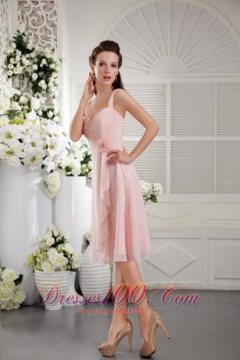 2013 Baby Pink A-Line / Princess Straps Tea-length Chiffon Hand Flower Bridesmaid Dress