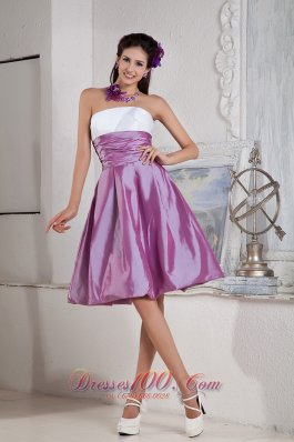 2013 Lavender and White Bridesmaid Dress Under 100 A-line / Princess Strapless Taffeta Ruch Knee-length
