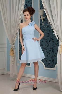 2013 Baby Blue Bridesmaid Dress Under 100 A-line / Princess One Shoulder Chiffon Hand Made Flowers