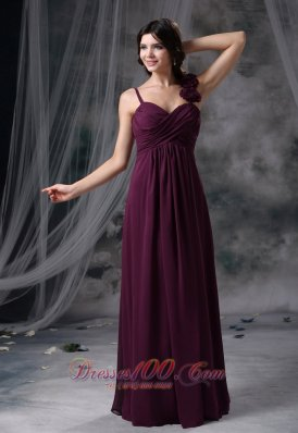 2013 Nevada Iowa Hand Made Flowers Decorate Straps Dark Purple Chiffon Floor-length Ruched Decorate Bodice 2013 Prom / Evening Dress