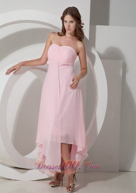 Cheap Customize Baby Pink Empire Sweetheart Bridesmaid Dress Asymmetrical Chiffon