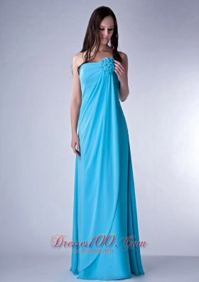 Cheap Customize Teal Empire Strapless Bridesmaid Dress Chiffon Hand Made Fowers Floor-length