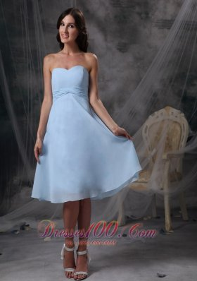 Cheap Custom Made Baby Blue Empire Homecoming Dress Sweetheart Chiffon Ruch Knee-length