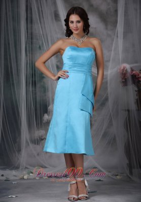 Cheap Aqua Blue Column Strapless Tea-length Taffeta Ruch Prom / Homecoming Dress