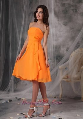 Cheap Sweet Orange Strapless Short Prom Dress Chiffon Handle Flowers Knee-length