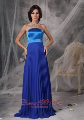 Cheap Pretty Royal Blue Elegant Bridesmaid Dress Empire Strapless Satin and Chiffon Floor-length