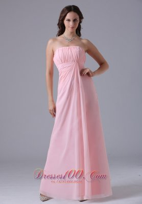 Cheap Massachusetts City Baby Pink Ruched Decorate Simple Bridesmaid Dress With Floor-length In 2013