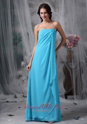 Cheap Custom Made Baby Blue Empire Strapless Homecoming Dress Chiffon Hand Made Made Flowers Floor-length