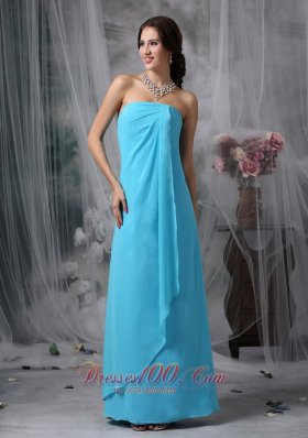 Cheap Beautiful Baby Blue Empire Strapless Homecoming Dress Chiffon Floor-length