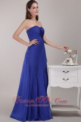 Cheap Royal Blue Empire Floor-length Sweetheart Chiffon Ruch Bridesmaid Dress