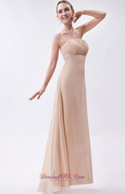 Cheap Champagne Empire Strapless High-low Chiffon Ruch Bridesmaid Dress