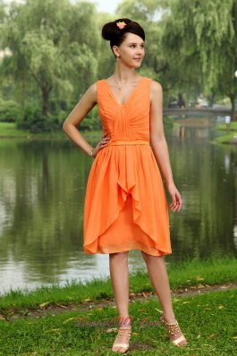 Cheap Orange Empire V-neck Knee-length Chiffon Ruch Bridesmaid Dress