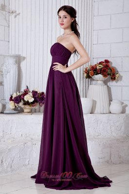 Cheap Dark Purple Empire Strapless Ruch Prom / Evening Dress Brush Train Chiffon