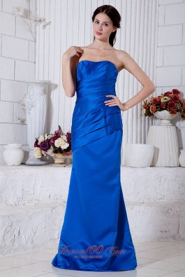 Cheap Royal Blue Column Strapless Ruch Mother Of The Bride Dress Brush Train Taffeta