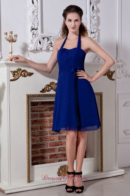Cheap Blue Empire Halter Mini-length Bridesmaid Dress Chiffon Bow