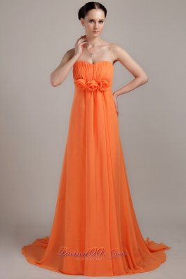 Cheap Orange Empire Sweetheart Brush Train Chiffon Hand Made Flowers Plus Size Prom Dress