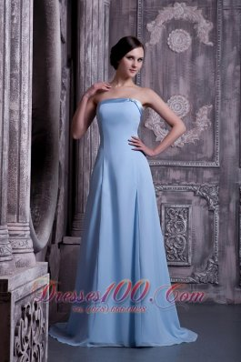 Cheap Pretty Light Blue A-line Strapless Prom / Homecoming Dress Satin and Chiffon Brush Train