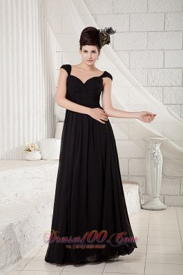 Cheap Discount Black Empire Little Black Dress V-neck Chiffon Beading Floor-length