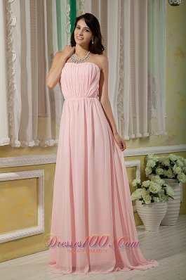 Cheap Pretty Baby Pink Bridesmaid Dress Empire Strapless Chiffon Ruch Brush Train
