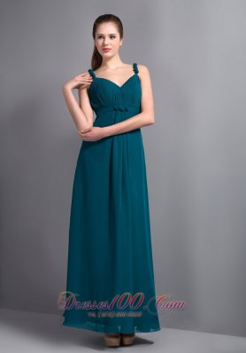 8e77323ffa7 Affordable Turquoise V-neck Ankle-length Prom Dress Chiffon