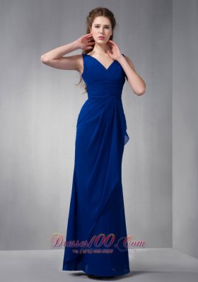 Customize Royal Blue V-neck Chiffon Bridesmaid Dress Floor-length