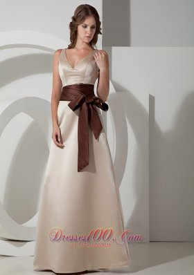 Grey A-line V-neck Floor-length Taffeta Sash Bridesmaid Dress