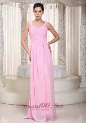 Baby Pink Empire Straps Floor-length Chiffon Ruched Prom Dress