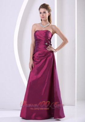 Purple Taffeta Custom Made Hand Made Flowers and Beading Prom / Evening Dress A-line