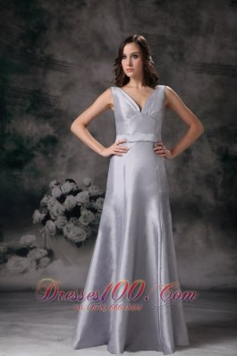 Grey Column / Sheath V-neck Floor-length Satin Ruch Bridesmaid Dress