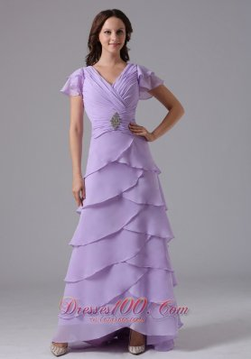 Lavender V-neck Ruffled Layeres Prom Dress With Beading and Ruch In Louisiana