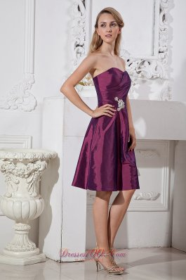 Dark Purple A-line Sweetheart Knee-length Taffeta Appliques With Beading Prom Dress