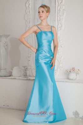 Aqua Blue Column Straps Beading and Ruch Bridesmaid Dress Floor-length Satin