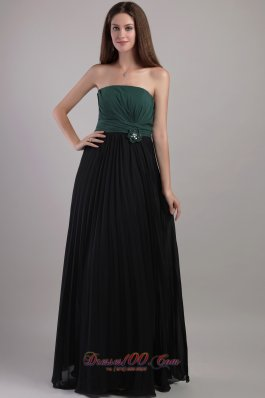 Elegant Peacock Green and Black Empire Strapless Floor-length Chiffon Hand Flowers Bridesmaid Dress