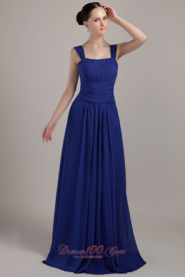 Royal Blue Empire Square Brush Train Chiffon Ruch Bridesmaid Dress