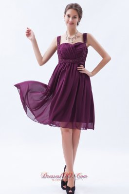 Dark Purple Empire Straps Prom Dress Chiffon Beading Knee-length
