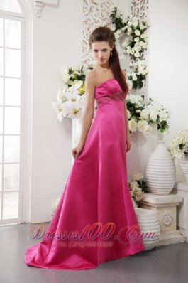 Hot Pink A-Line / Princess Strapless Brush Train Satin Beading Hot Pink Prom / Evening Dress