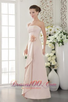 Beautiful Column / Sheath Strapless Floor-length Satin Hand Made Flower Baby Pink Bridesmaid Dress