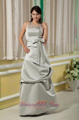 Elegant Grey Bridesmaid Dress Column Halter Floor-length Satin Bow