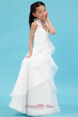 New White A-line Halter Flower Girl Dress Organza Ruch and Hand Made Flowers Floor-length