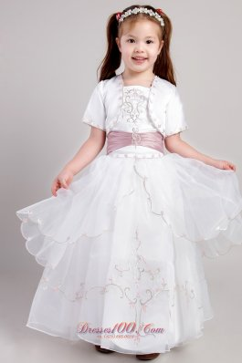 New White A-line Square Ankle-length Taffeta and Organza Embroidery Flower Girl Dress