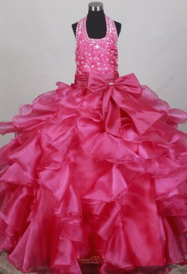 Fushsia Flower Girl Pageant Dress With Halter Neckline Beaded Decorate Bodice  Pageant Dresses