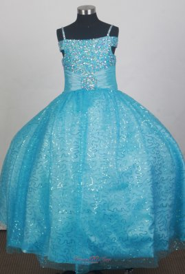 Light Blue Sequin Flower Girl Dress With Spaghetti Straps Neckline Beaded Decorate  Pageant Dresses