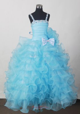 Custom Made For Affordable Little Girl Pageant Dresses With Beading Bow and Ruffled Layers  Pageant Dresses