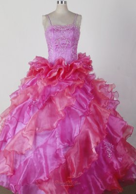 Brand New Ball Gown Little Girl Pageant Dress Beading and Ruffles Spaghetti Straps Floor-length  Pageant Dresses