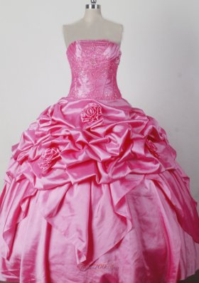 Luxurious Ball Gown Beading and Hand Made Flowers Strapless Floor-length Little Girl Pageant Dress  Pageant Dresses