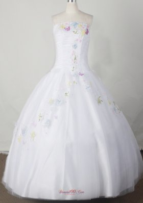 Embroidery With Beading Decorate Bodice Romantic Ball Gown Little Girl Pageant Dress Strapless Floor-length  Pageant Dresses