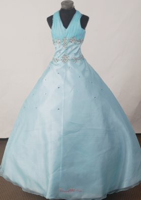 Brand New Ball Gown Beading Little Girl Pageant Dress Halter Floor-length  Pageant Dresses